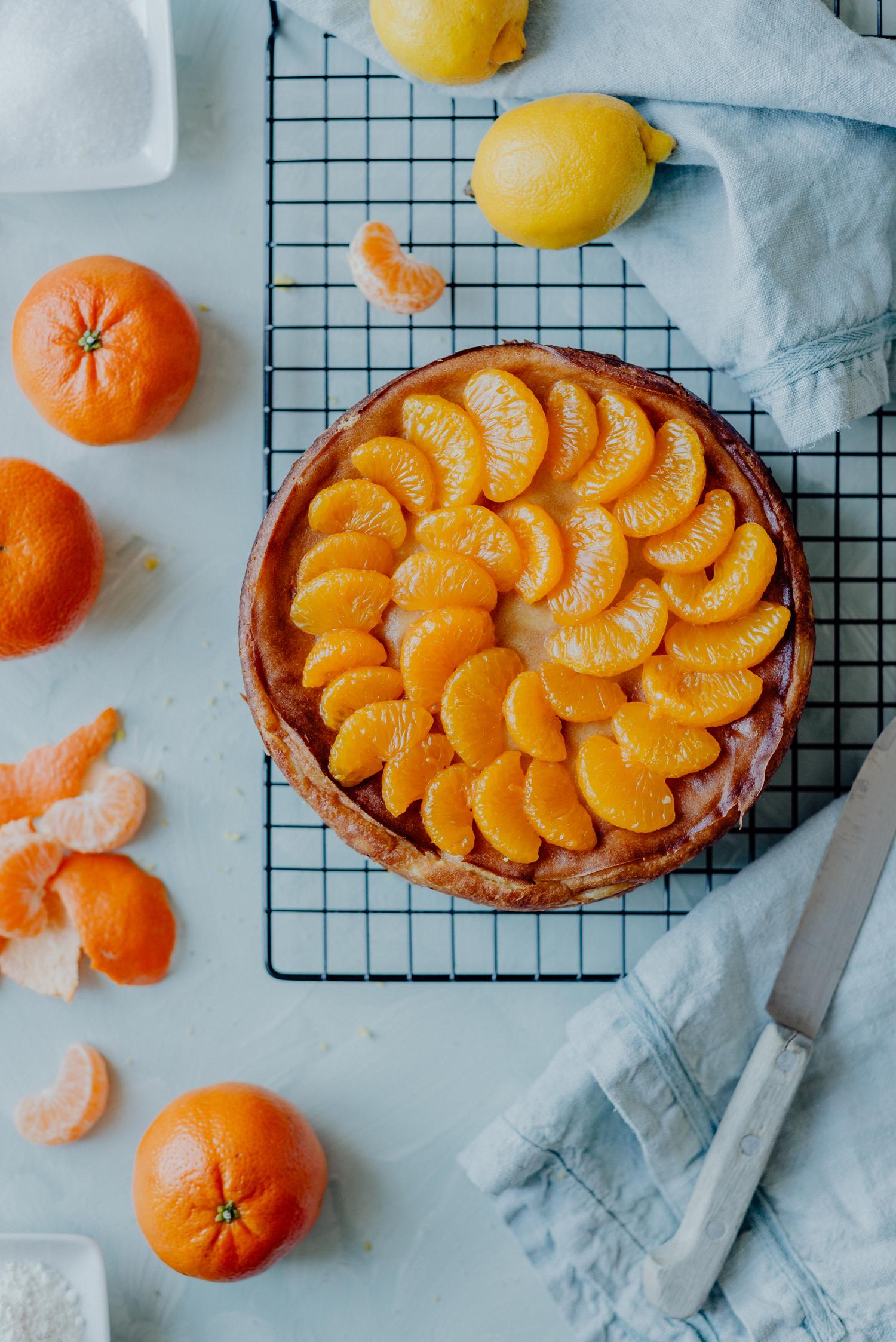 Veganer Käsekuchen mit Mandarinen